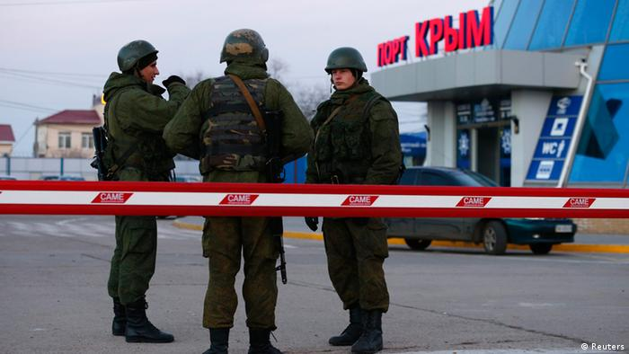Soldiers at a military base in Crimea