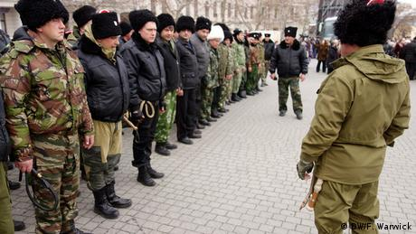 A picture of Kuban Cossacks from Russia being sworn in at a ceremony in Sevastopol.