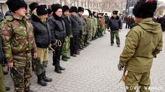 A guard of Kuban Cossacks line up on parade in Crimea.