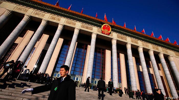 China Nationaler Volkskongress in Peking Halle außen