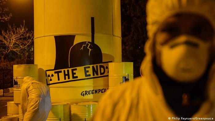 Greenpeace protests at a nuclear power plant in Brussels