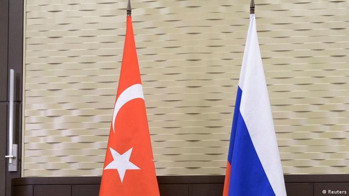 Ausschnitt Türkei Russland Flagge