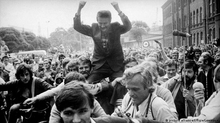 Lech Walesa, leader of the free Solidarity union in Gdansk in 1980