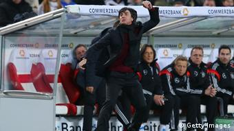 Head coach Joachim Löw of Germany reacts during the international friendly match between Germany and Chile at Mercedes-Benz Arena on March 5, 2014 in Stuttgart, Germany. (Photo by Alex Grimm/Bongarts/Getty Images)