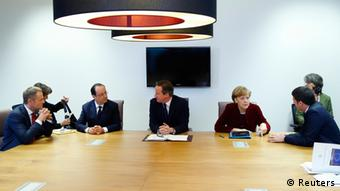 Merkel, Holland, Cameron, Tusk and Renzi sit around a table in Brussels. (Photo: REUTERS/Yves Herman)