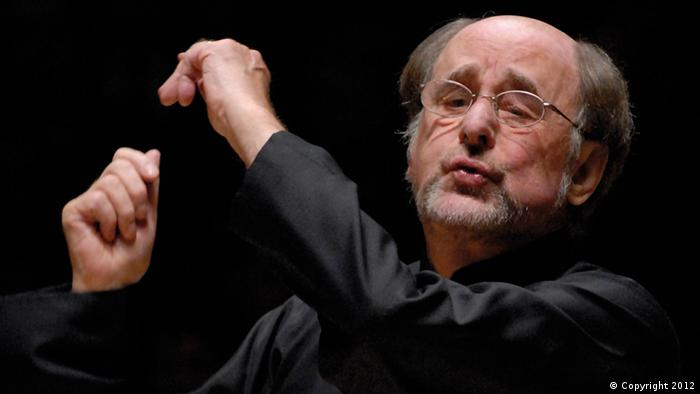 Conductor Sir Roger Norrington on stage