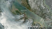 Satellitenbild von den Waldbränden auf Sumatra