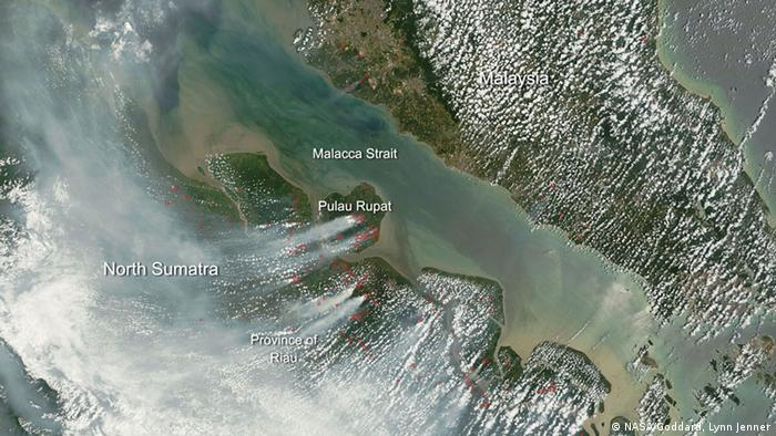 Satellite image of the forest fires on Sumatra