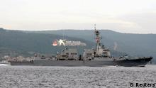 The U.S. Navy guided-missile destroyer USS Truxtun sets sail in the Dardanelles straits, on its way to the Black Sea March 7, 2014. The USS Truxtun is heading to the Black Sea for what the U.S. military on Thursday described as a routine deployment that was scheduled well before the crisis in Ukraine. REUTERS/Depo Photos (TURKEY - Tags: POLITICS MILITARY)