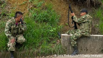 Two FARC guerrillas in the rural area of Caloto, department of Cauca, Colombia