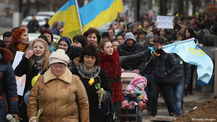 Проукраїнська акція у Сімферополі у березні 2014 року