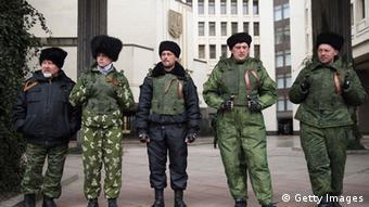 Фото из архива. Российские казаки перед парламентом в Симферополе. Март 2014 года