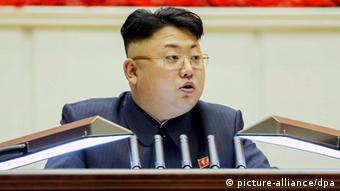 A picture released by the Rodong Sinmun, the newspaper of North Korea's ruling Workers Party, on 26 February 2014, shows North Korean leader Kim Jong-un giving an address during the eighth conference of the ideological officials of the Workers' Party in Pyongyang, North Korea, 25 February 2014.