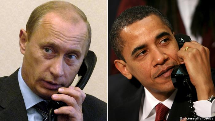 Vladimir Putin and Barack Obama on the phone