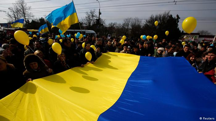 Pro-Ukrainian demonstration in Simferopol, March 9 (Photo: REUTERS/Thomas Peter)