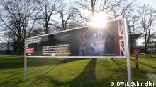 Messeplakate auf der Cebit 2014 in Hannover, Gastland Großbritannien Foto: Johanna Schmeller/DW