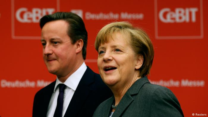 British Prime Minister David Cameron and German Chancellor Angela Merkel at the opening of the CeBIT conference in Hanover