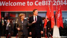 German Chancellor Angela Merkel and British Prime Minister David Cameron arrive for the opening ceremony of the Hanover technology fair Cebit March 9, 2014, where Britain is this year's partner country. REUTERS/Fabrizio Bensch (GERMANY - Tags: BUSINESS SCIENCE TECHNOLOGY TELECOMS)