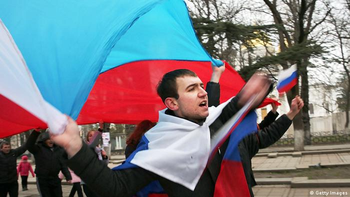 A pro-Russian demonstration in Simferopol on Saturday. (Photo: Spencer Platt/Getty Images)
