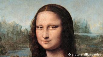 Die Mona Lisa von Leonardo da Vinci im Pariser Louvre, ein Ausschnitt