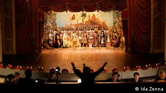 Marionettes on stage as the orchestra plays in a production of Rinaldo in 2011. (Photo: Ida Zenna)