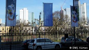 Frankfurt's bank towers in the background and posters advertising the Emil Nolde exhibition in the foreground Photo: Jochen Kürten/DW