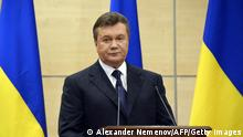 Deposed Ukrainian president Viktor Yanukovych attends his press-conference in southern Russian city of Rostov-on-Don, on March 11, 2014. AFP PHOTO / ALEXANDER NEMENOV (Photo credit should read ALEXANDER NEMENOV/AFP/Getty Images)