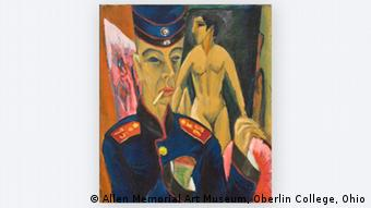 Somewhat abstract painting of soldier in foreground and naked women in background, Self-portrait as a soldier by Ludwig Kirchner, 1915, in THE GREAT WAR IN PORTRAITS exhibition in the National Portrait Gallery in London Photo: © Allen Memorial Art Museum, Oberlin College, Ohio