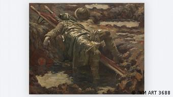 Painting of a dead solder whose face is covered as he lies sprawled on a stretcher, called The Dead Stretcher-Bearer by Gilbert Rogers, 1919 , in THE GREAT WAR IN PORTRAITS exhibition in the National Portrait Gallery in London © IWM ART 3688