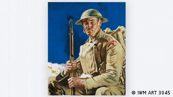 Portrait of a Grenadier Guardsman in uniform, holding his gun, by Sir William Orpen, 1917 in THE GREAT WAR IN PORTRAITS exhibition in the National Portrait Gallery in London Photo: © IWM ART 3045