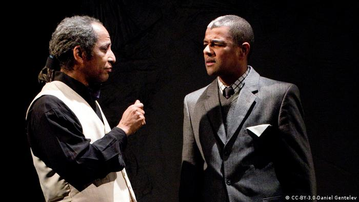 Two men on stage, Sadiq-Bey, left and Ernest Allan Hausmann, right Photo: Daniel Gentelev