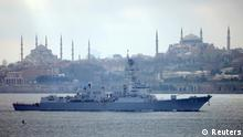 U.S. Navy guided-missile destroyer USS Truxtun, with Istanbul's historical monuments Sultanahmet mosque, known as Blue mosque, (L) and Hagia Sophia museum (R) in the background, sets sail in the Bosphorus, on its way to the Black Sea March 7, 2014. A U.S. warship passed through Turkey's Bosphorus straits on Friday on its way to the Black Sea, in what the U.S. military has described as a routine deployment scheduled well before the crisis in Ukraine. Washington announced the deployment on Thursday, a day after the Pentagon unveiled plans to put more U.S. fighter jets on a NATO air patrol mission in the Baltics in a bid to reassure allies alarmed by Russia's effective seizure of Ukraine's Crimea peninsula, which juts into the north of the Black Sea. REUTERS/Stringer (TURKEY - Tags: CITYSCAPE MILITARY POLITICS MARITIME TPX IMAGES OF THE DAY)