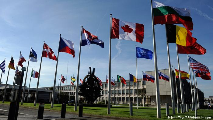 NATO headquarters in Brussels with flags