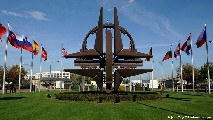 Bélgica Nato-Hauptquartier em Brüssel Flaggen