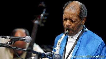 Jazz saxophonist Ornette Coleman on stage