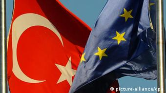 A Turkish flag and an EU flag