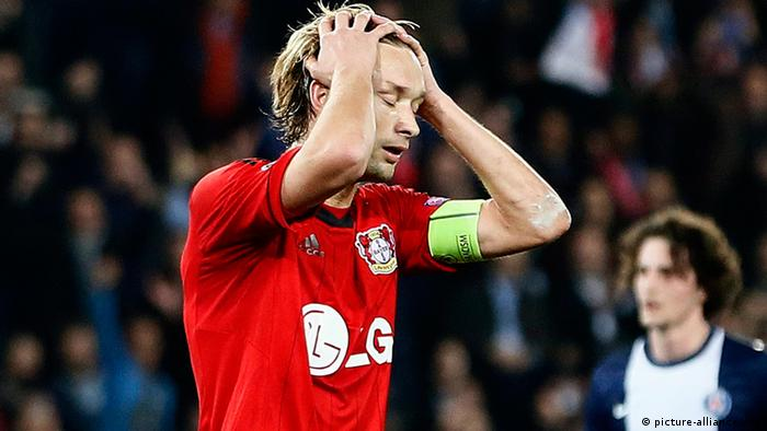 Bayer Leverkusen captain Simon Rolfes reacts after missing a penalty against PSG. Photo: EPA