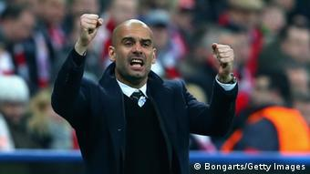 Pep Guardiola in action on the bench from earlier in the season.