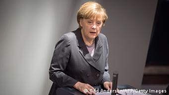 Merkel during a speech in the Bundestag Photo: ODD ANDERSEN/AFP/Getty Images