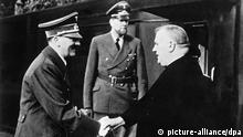 Slovak president Josef Tiso shakes hand with Adolf Hitler in Germany on Oct. 26, 1941. In the middle is envoy von Doernberg.(CTK Photo/File) +++(c) dpa - Report+++ pixel