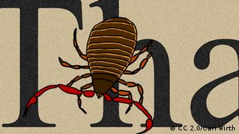 drawing of a book scorpion in front of letters (Photo: http://www.flickr.com/photos/naturalismus/4375916946/lightbox/ Lizens http://creativecommons.org/licenses/by-sa/2.0/ CC 2.0/Carl Wirth)
