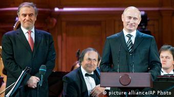 Путин и Гергиев на открытии Конкурса имени Чайковского в Москве, 2011 год