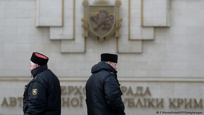 Guards outside the Crimean parliament