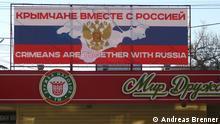 Werbung für den Beitritt zu Russland auf den Strassen von Simferopol