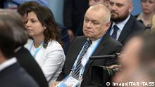 ITAR-TASS: SOCHI, RUSSIA. FEBRUARY 10, 2014. Margarita Simonyan, editor-in-chief of Rossiya Segodnya international news agency and RT (Russia Today) TV channel, and Rossiya Segodnya general director Dmitry Kiselyov (C) attend a meeting of Russia s president Vladimir Putin with members of the Public Council for the preparation of the 22nd Winter Olympic Games in Sochi. PUBLICATIONxINxGERxAUTxONLY RE138A71 ITAR TASS Sochi Russia February 10 2014 Margarita Simonyan Editor in Chief of Rossiya International News Agency and RT Russia Today TV Channel and Rossiya General Director Dmitry C attend a Meeting of Russia S President Vladimir Putin With Members of The Public Council for The Preparation of The 22nd Winter Olympic Games in Sochi PUBLICATIONxINxGERxAUTxONLY RE138A71