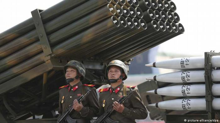 North Korea soldiers, rocket launcher
