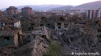 The Serbian town of Aleksinac after it was hit bz NATO missiles in April 1999