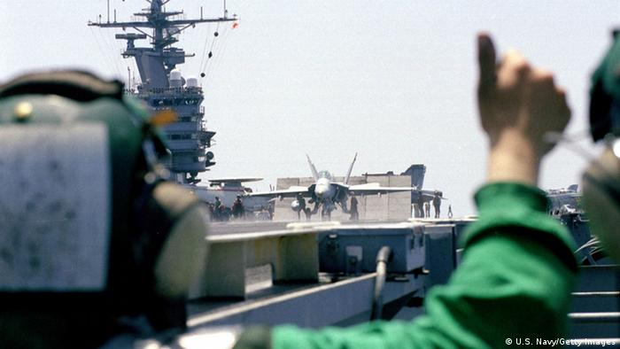 Plane ready to be launched from the USS Theodore Roosevelt