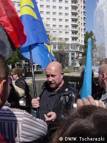 Иван Вовк во время митинга в Мадриде