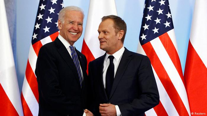 Joe Biden mit Donald Tusk in Warschau 18.03.2014